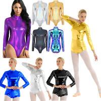 Adult Women Wetlook Metallic Leotard Bodysuit Long Sleeve Dance Yoga Gym Costume