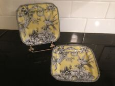 "Set of 2  222 FIFTH CHINA - Adelaide Yellow Toile Pattern 6 1/4"" Square Plates"