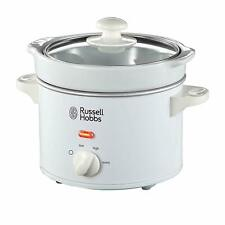 Russell Hobbs Compact Slow Cooker White 2L Glass Lid Healthy Removable Pot Easy