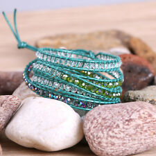 KELITCH Crystal Beads on Leather Chain 5 Wrap Bracelet Handmade Fashion Jewelry