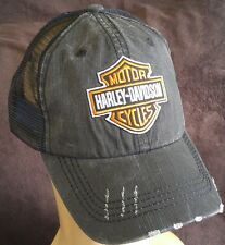 Harley Davidson Distressed Low Profile Hat Unstructured Black Mesh Ball Cap