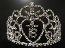 "Sweet Sixteen 16 Birthday Party Rhinestone Heart Tiara Comb Crown 2-3/4"" Tall"