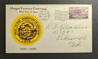 1936 Oregon Trail Centennial First Day Cover Missoula MO to Pikesville MD
