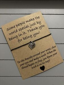 💝Someone Special Thank You Quote Friendship Wish Heart Charm bracelet Gift 💝