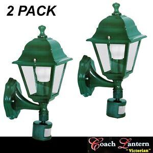 2 x Victorian Style Coach Lantern Lights Green Wall Mount with PIR Motion Sensor