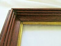 "RARE FITS 6 X 8"" SMALL ANTIQUE WALNUT GOLD GILT PICTURE FRAME COUNTRY FINE ART"