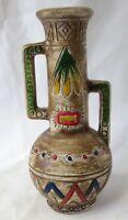 "Vintage Southwestern Clay Pot Vase Etched 8"" Decorative Brown"