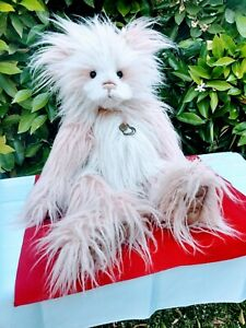 "Charlie Bears Panda Pink Fuzzy Karen Heart Pendant RETIRED Isabel Lee LARGE 22"""