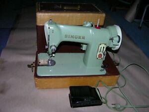 Vintage Singer Model 185J Sewing Machine Light Green Color Excellent Working