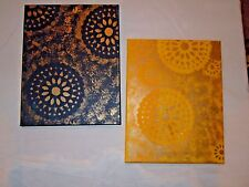 Set of Navy Blue and Yellow Printed Canvas Stretched Art - NEW