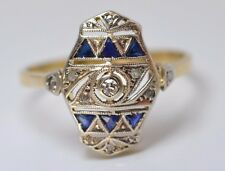 ANTIQUE ART DECO 18k Gold Diamonds and Sapphires Engagement Ring 2 Gr 750