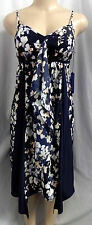 """VERA WANG"" NAVY BLUE FLORAL WATERFALL EMPIRE CAREER CASUAL DRESS SIZE: PL"
