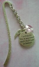 Tibetan Silver Bookmark - I WILL HOLD YOU IN MY HEART. ANGEL BABY LOSS.