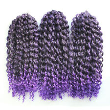 "3 Pcs 12"" Afro Mali Bob Curl Crochet Braiding Hair Synthetic Braid Ombre #Purple"