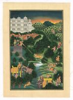Handmade Indian Miniature Painting Of Mughal Emperor Shooting The Tiger On Cloth