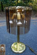 50 cm Lampe Messing Tischlampe Scheiben Rauchglas Facettschliff Wortmann & Filz