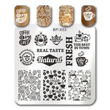 BORN PRETTY Nail Stamping Plates Coffee Cup Drink Leaf Manicure Image Templates