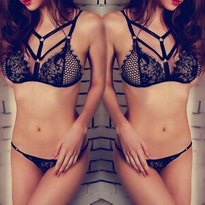 Black Lingerie Lace Babydoll Sleepwear Underwear Nightwear Bra G-string S  8-10