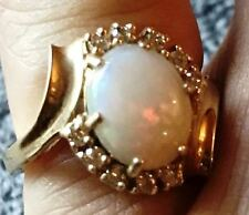 Gorgeous, 14k  Vintage, Opal And Diamond Ring