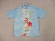 Tommy Bahama Button Up Shirt Adult Medium Blue Green Palm Tree Silk Camp Mens *