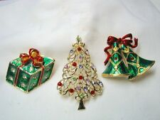Vintage Lot of 3 Christmas Brooches Some may be signed
