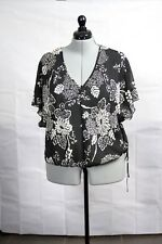 Sussan Soft, Black and White, Loose Chiffon Top Size 16