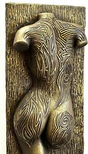Sexy Erotic Female Torso Tattoo Covered Brass Wall Art Sculpture Room Home Decor