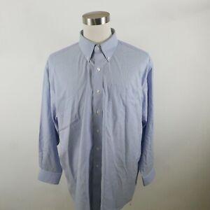 Jos A Bank Mens Traveler LS Button Up Blue White Striped Dress Shirt 18.5-34
