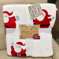 "Christmas Santa Claus Jingle & Joy Plush Fleece Throw Blanket 60"" x 70"""