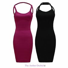 Women's Halterneck Polyester Party Stretch, Bodycon Dresses