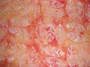 2 YARDS BATIK Floral Leaves Orange Anthology Quilt Crafts Cotton Fabric 314