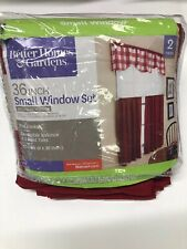 Better Home And Garden Red Checks Revers Valance & 2 Kitchen Curtain Panel 60x36