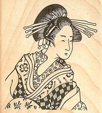 Toshiko Asian Japanese Woman Wood Mounted Rubber Stamp JUDIKINS - NEW, 2778G