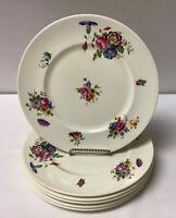 "Cauldon China England - Set Of Six 9""Salad Plates Pale Yellow With Floral Design"