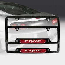 2Pcs JDM CIVIC Black Stainless Steel License Plate Frame Red Carbon Fiber Emblem