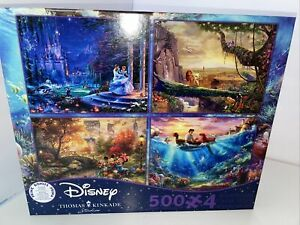 E17 Disney Thomas Kinkade 4 in 1 500 piece Cinderella Lion King Mermaid Mickey