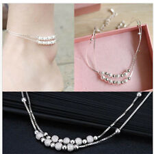 Beautiful Silver Beaded Anklet Ankle Chain Barefoot Beach Foot Bracelet Jewelry
