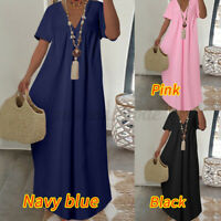 Size Women V Neck Short Sleeve Maxi Dress Ladies Casual Holiday Loose Dresses UK