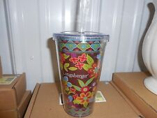 Longaberger Plastic To Go Bliss Tumbler Travel Cup with straw--NEW--SALE!!!