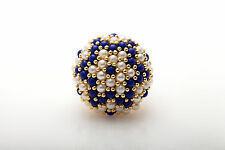 Vintage Natural Pearl Blue Lapis 14k Yellow Gold Cocktail Cluster Ring BIG 10g