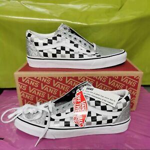 NEW Vans Old Skool Glitter Checkerboard silver classic women's shoe Sneaker UK 9