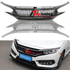 Si Front Piano Black Grille Eyebrow For 16-17 Honda Civic Coupe Sedan Hatchback