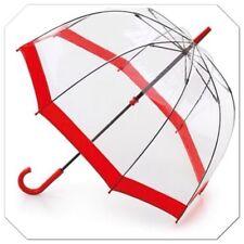 Quality Womens Clear  Dome Bird Cage Transparent Umbrella With Red Trim 86cm