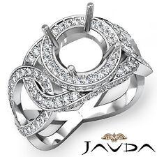 Unique Halo Diamond Engagement Round Semi Mount Designer Ring Platinum 950 1.3Ct