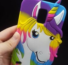 For Samsung Galaxy S5 - SOFT RUBBER SILICONE CASE COVER COLORFUL RAINBOW UNICORN