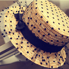 Summer Chic Casual Ladies Fashion Black Dot Straw Caps Sun Brim Hats Outdoor