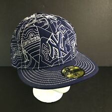 NEW ERA 59FIFTY Fitted Hat Cap New York Yankees NYY Quilted MLB Pattern Sz 7 3/8
