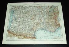 Mittel- und  Südfrankreich / alte Landkarte Jahreszahl 1911