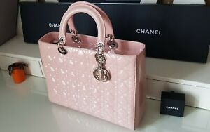 CHRISTIAN DIOR Pink Patent Leather  Lady Dior Quilted Cannage Bag Large. NEW.