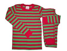 Hanna Andersson Boy Girl 140 10 Red Green Stripe Long John Pajamas XMAS
